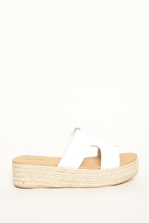 Cut Out Espadrille Sandals WHITE