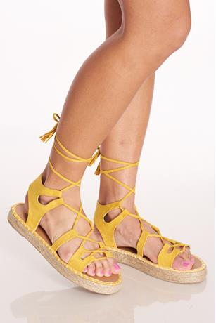 Tassel Lace-Up Sandals MUSTARD
