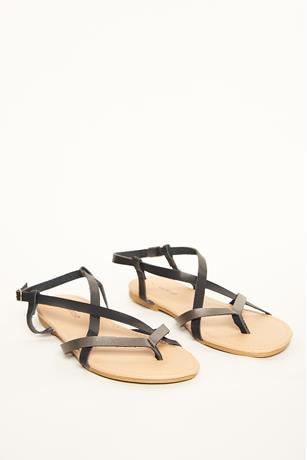 Metallic Contrast Sandals BLACK