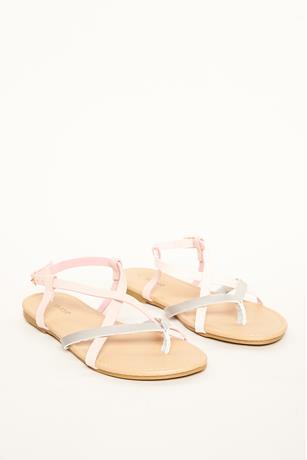 Metallic Contrast Sandals BLUSH