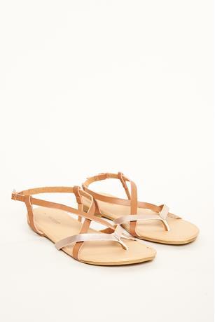 Metallic Contrast Sandals COGNAC