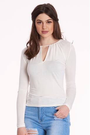 Keyhole Long-sleeve Top  WHITE