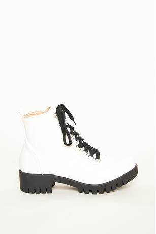 Thick Platform Combat Boots WHITE