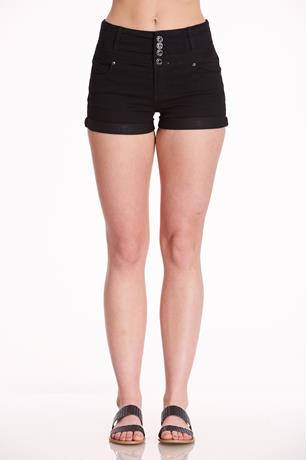 Black Button-Up Shorts BLACK