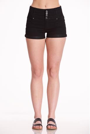 Black Button-Up Shorts BLACK