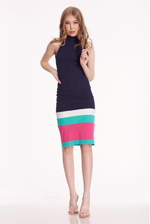 Halter Striped Dress NAVY