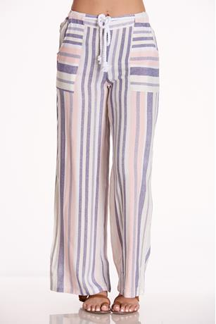 Belted Striped Pants BLUE