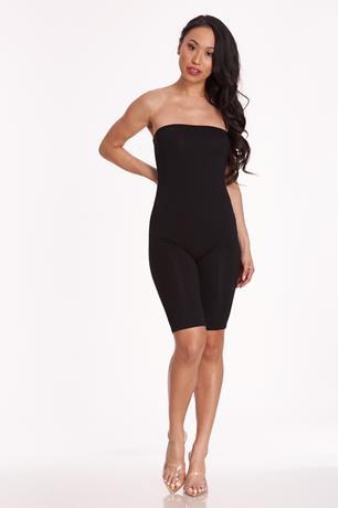 Stretch-Knit Tube Romper BLACK