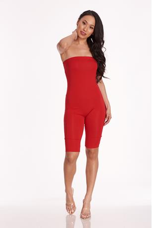 Stretch-Knit Tube Romper RED