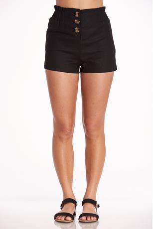 Button Up Linen Shorts BLACK
