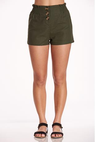 Button Up Linen Shorts OLIVE