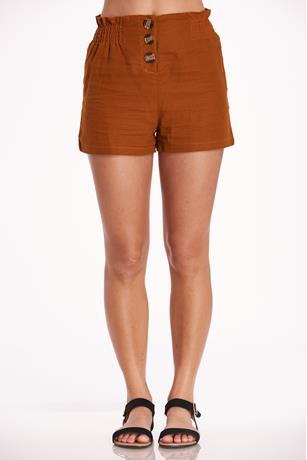 Button Up Linen Shorts RUST
