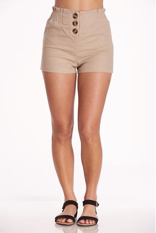 Button Up Linen Shorts TAUPE