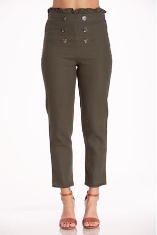 Paperbag Linen Pants OLIVE
