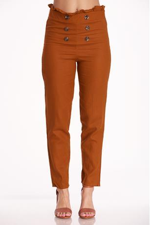 Paperbag Linen Pants RUST