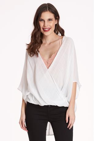 High-Low Surplice Top WHITE
