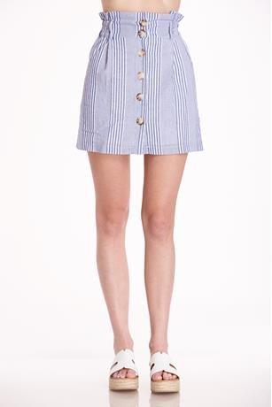 Button Up Mini Skirt BLUE
