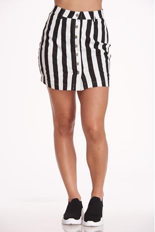 Striped Mini Skirt BLACK