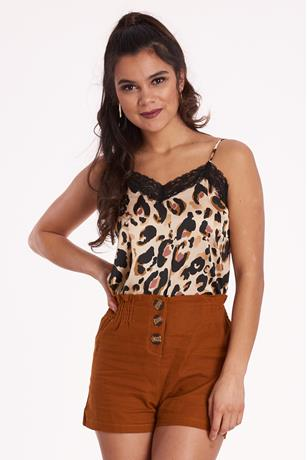 Print Lace-Trim Cami BROWN
