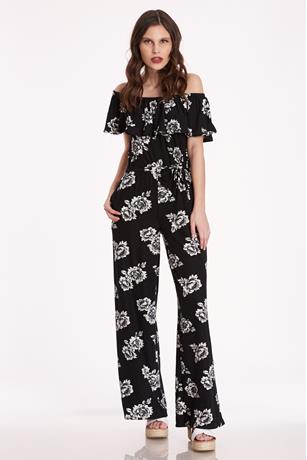 Floral Off-The-Shoulder Jumpsuit BLACK