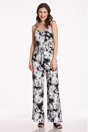 Brushed Tie Dye Jumpsuit BLACK