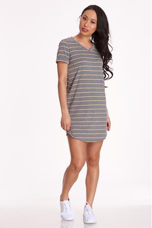 Cuffed T-Shirt Dress GRAY