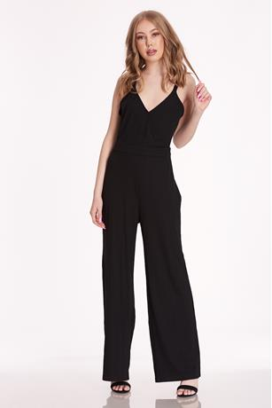 Surplice Ribbed Jumpsuit BLACK
