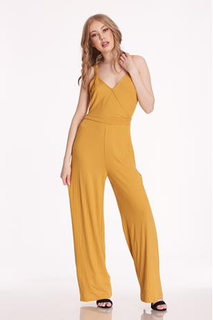 Surplice Ribbed Jumpsuit GOLD