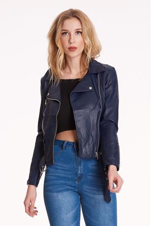 Faux Leather Moto Jacket NAVY
