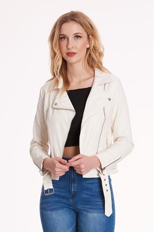 Faux Leather Moto Jacket WHITE