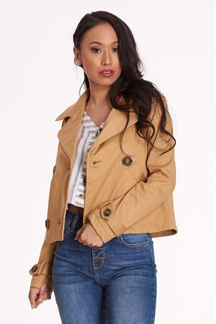 Cropped Trench Coat MUSTARD