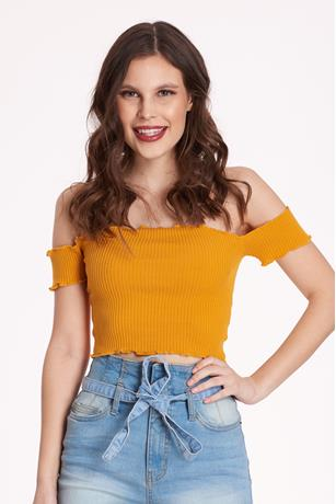 Ribbed Lettuce-Edge Crop Top MUSTARD