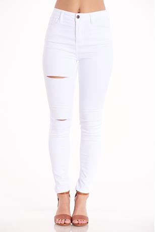 Cello White Slit Jeans WHITE