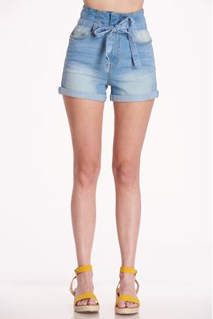 Paperbag Self-tie Shorts LIGHT WASH