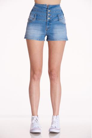 High Rise Button Up Shorts