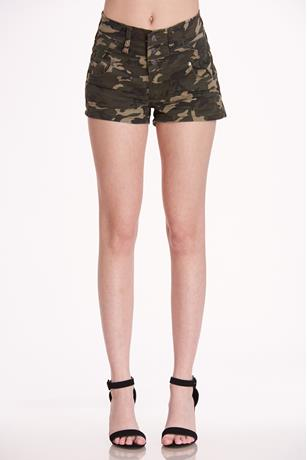 Camouflage High Rise Shorts