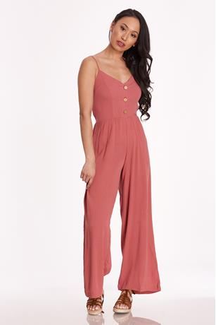 Cami Button Up Jumpsuit MAUVE