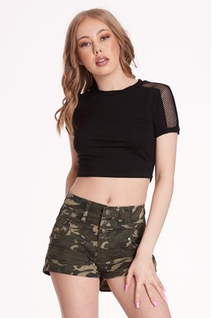 Mesh Sleeve Crop Top BLACK