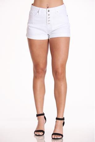 Almost Famous White Button Shorts WHITE