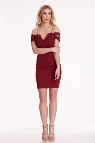 Crochet Off Shoulder Dress BURGANDY