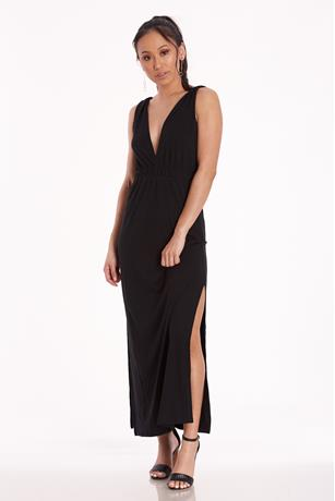 V-Neck Maxi Dress BLACK
