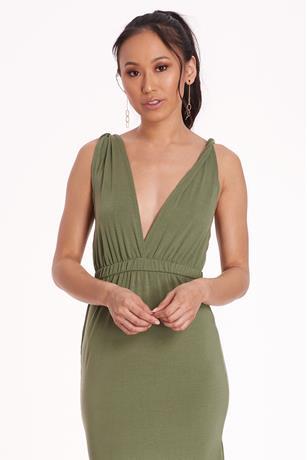 V-Neck Maxi Dress OLIVE