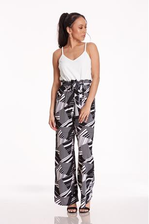 Print Paperbag Jumpsuit BLACK