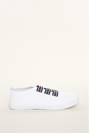 Canvas Stripe Sneakers WHITE