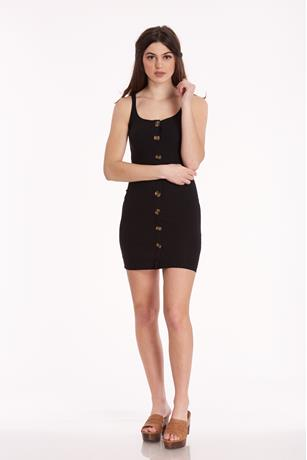 Button-Front Mini Dress BLACK