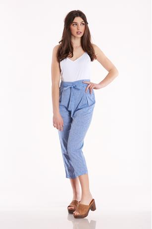 Linen Paperbag Jumpsuit DENIM