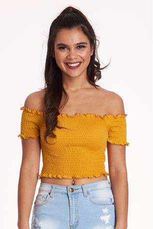 Ruffle Smocked Crop Top MUSTARD