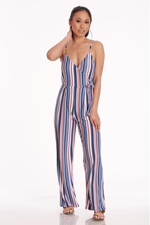 Striped Cami Jumpsuit NAVY