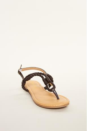 Braided Keyhole Sandals BROWN