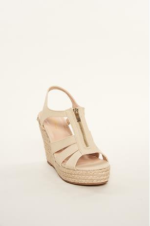 Zipper Espadrille Sandals BEIGE